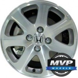 ALLOY WHEEL, 15 X 6, 4 STUDS/LUGS, 100MM BOLT, OFFSET 45MM, HAS INSERTS-YES, 7 SPOKES, MACHINED AND SILVER, HONDA CIVIC_COUPE 1999-2005
