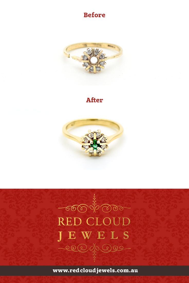Sometimes we have to breath new life into old pieces by completely remaking them, painstakingly restoring them to their former glory. This ring features 9ct yellow gold, an emerald and diamonds. | Outstanding Jewellery for Outstanding Individuals | www.redcloudjewels.com.au
