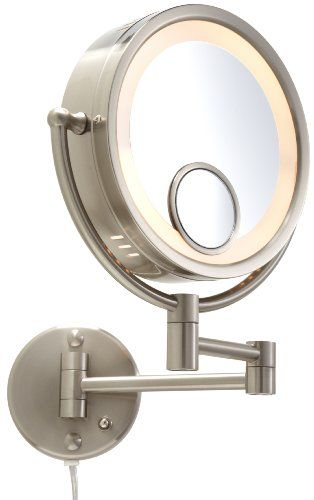 Jerdon HL8515N 8.5-Inch Lighted Wall Mount Mirror, 7X Magnif