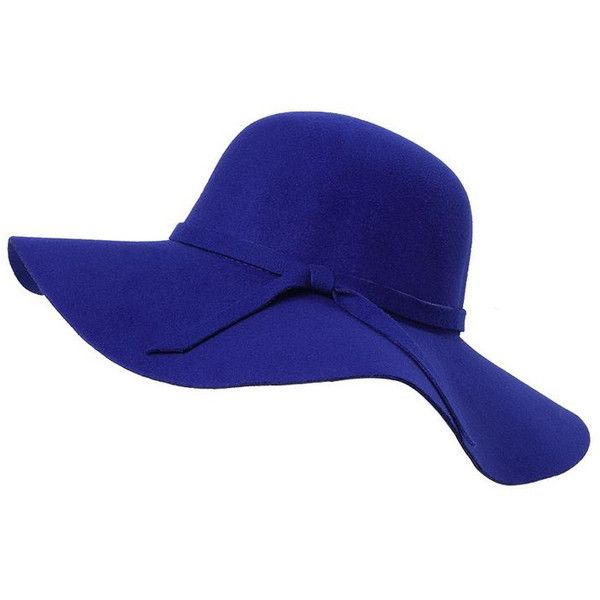 ladies fedora floppy wide large brim beach sun hats woolen bucke (930 RSD) ❤ liked on Polyvore featuring accessories, hats, royal blue, bucket hat, wool hat, wide brimmed hat, summer hats and wool fedora hat