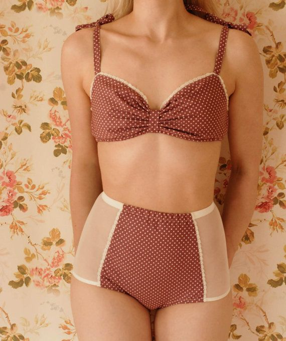 Handmade Sweet Rose Polka Dot Vintage Inspired Soft Bra And High Waist Panty Lingerie Set. Hand pattern cut and sewn in London to obtain an