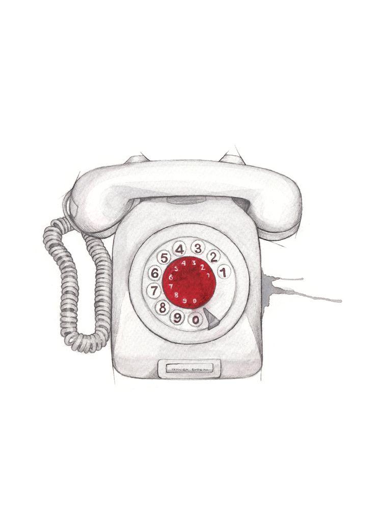 """Grå telefon"" (Vintage norwegian phone)  Copyright: Emmeselle.no  Illustration by Mona Stenseth Larsen"