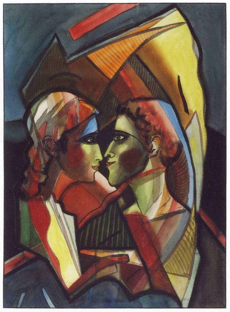 "Victor Shmokhin. ""Будет первый поцелуй"" 1982г. Бумага /акварель. 74,4х54,8 ( №1,928)"