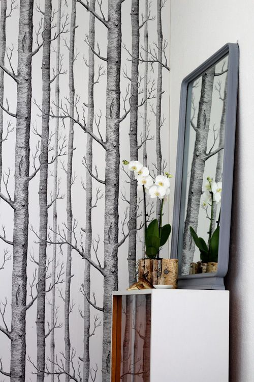 Wallpaper. Want this for my current bathroom... pretend im in the forest