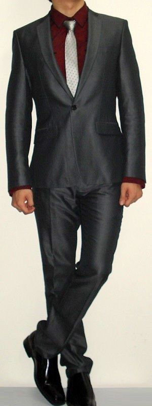 I Love this suit combo light grey with black shirt relaxed