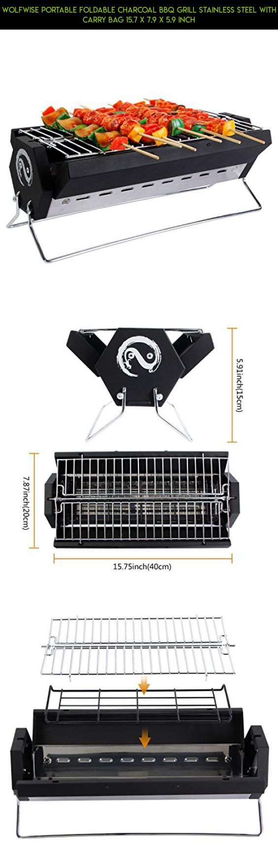 WolfWise Portable Foldable Charcoal BBQ Grill Stainless Steel with Carry Bag 15.7 X 7.9 X 5.9 inch #shopping #parts #technology #products #plans #hibachi #grills #camera #gadgets #tech #drone #racing #kit #fpv