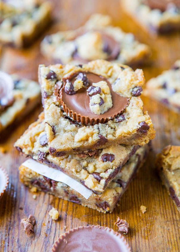 peanut butter cup chocolate chip cookie dough bars