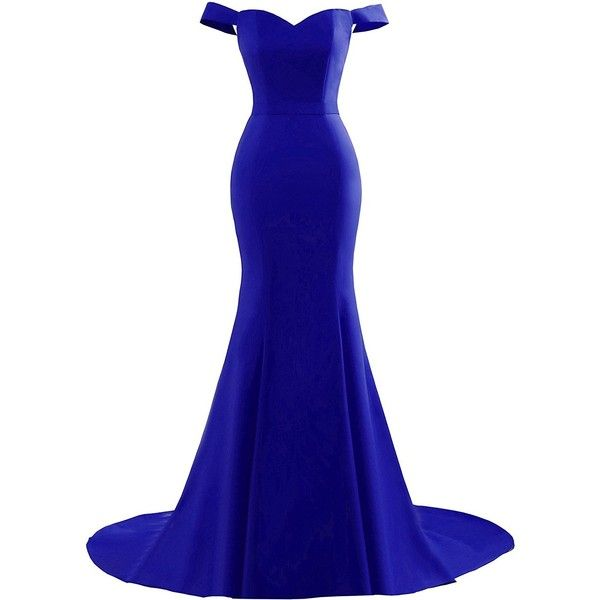Yinyyinhs Women's Off the Shoulder Mermaid Evening Gowns Sweetheart... ($75) ❤ liked on Polyvore featuring dresses, gowns, long gown, long white dress, long white evening dress, white formal gown and white gown