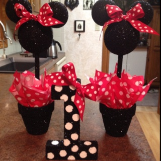 "Vivi's Minnie Mouse first birthday! Mom and I made them from styrofoam balls and a cardboard ""1"" from Hobby Lobby. Add glitter and...presto!"