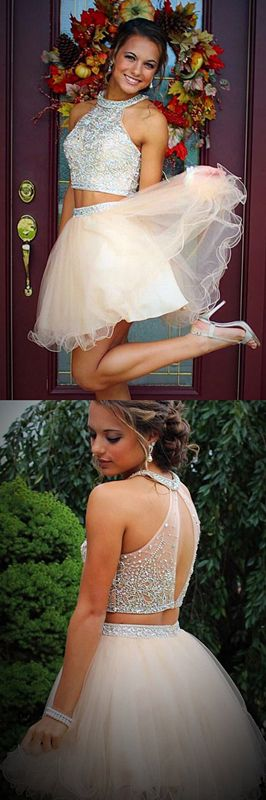 Two Piece Homecoming Dresses,Beading Homecoming Dresses,Short Homecoming Dresses,Pink Homecoming Dresses,Tulle Homecoming Dresses,Halter Homecoming Dresses,2017 Homecoming Dresses