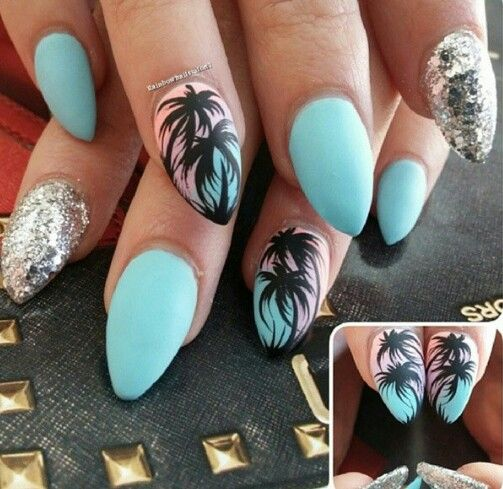 Turquoise blue palm tree Florida California silver glitter nails