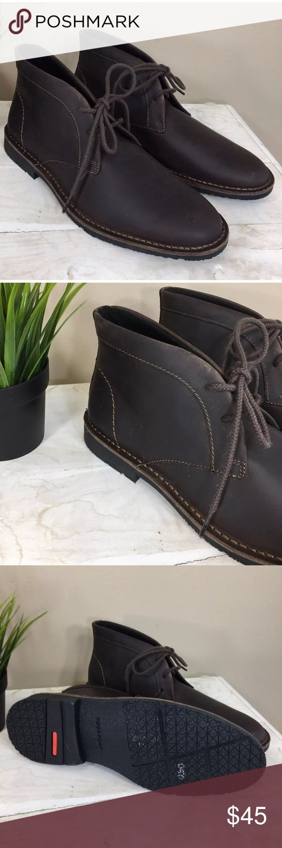 """Men's Rockport Chukka Boot Brown Sz 9 NEW Men's Rockport Chukka Boot  New without Box  SZ 9  Leather Imported Rubber sole Shaft measures approximately 4.5"""" from arch Heel measures approximately 1"""" Platform measures approximately 0.5"""" Three-eyelet chukka style with full-welt stitching and traction outsole Treat yourself to a more luxurious and comfortable Chukka boot with these leather Rockport lace-ups.. Rockport Shoes Chukka Boots"""