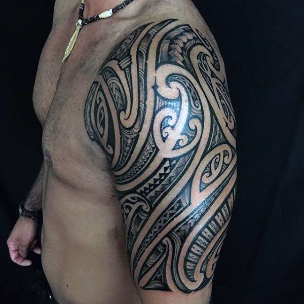Shoulder Tattoo Gallery High Quality Polynesian Designs For Sale Half Sleeve Tribal Tattoos Tribal Tattoos For Men Half Sleeve Tattoos For Guys