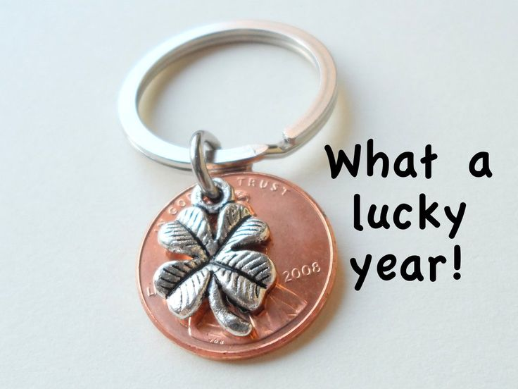 Clover Charm Layered over 2008 Penny Keychain, 8 Year Anniversary Gift, Couples Keychain