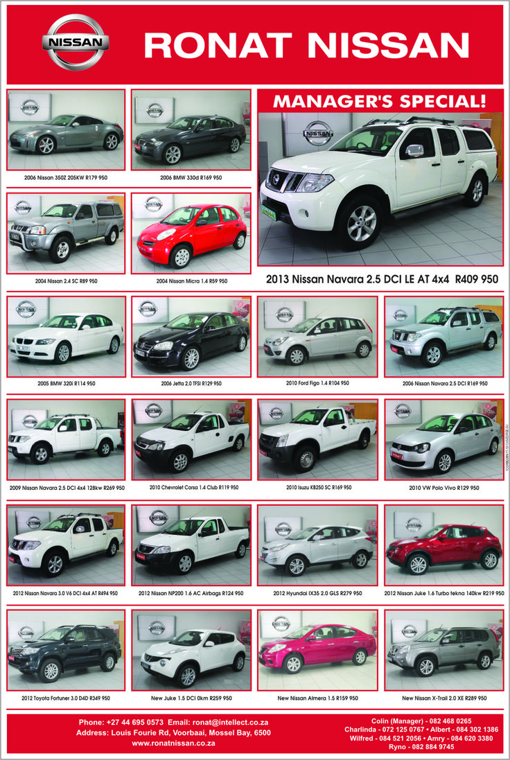 Wide range of used vehicles at excellent prices available. Contact us for more information.