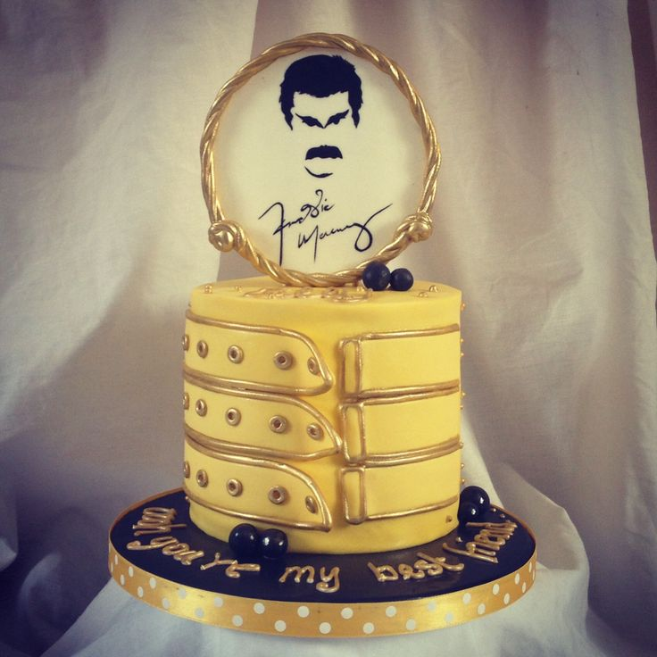 Freddie Mercury birthday cake for a best friend!! - Freddie Mercury themed 5inch sponge cake with a handpainted silhouette
