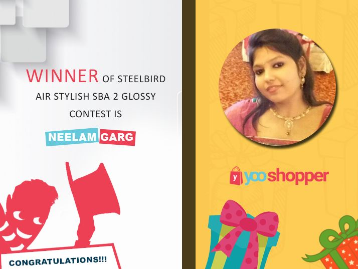 Big Congratulations to Neelam Garg Neelam Garg The winner of Steelbird Air Stylish SBA 2 Glossy contest (20th September 2017).. Thank you for participating.. #yooshopper Kindly PM us your permanent address to get your gift delivered!!
