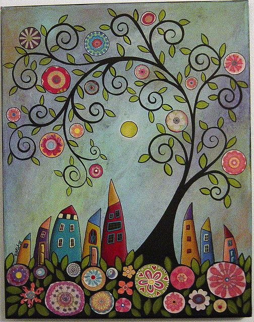 Swirl tree abstract houses painting by karla gerard