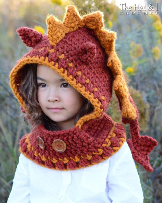 CROCHET PATTERN - Lucky Dragon Hood & capot - un modèle de hotte de dragon au crochet, pixie hood (tailles bambin/enfant/adulte) - Instant PDF Download