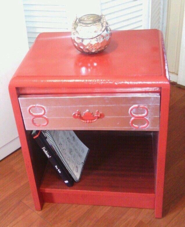 Vintage Nightstand End Table Upcycled Artsy Eclectic Red Silver Brown  Painted