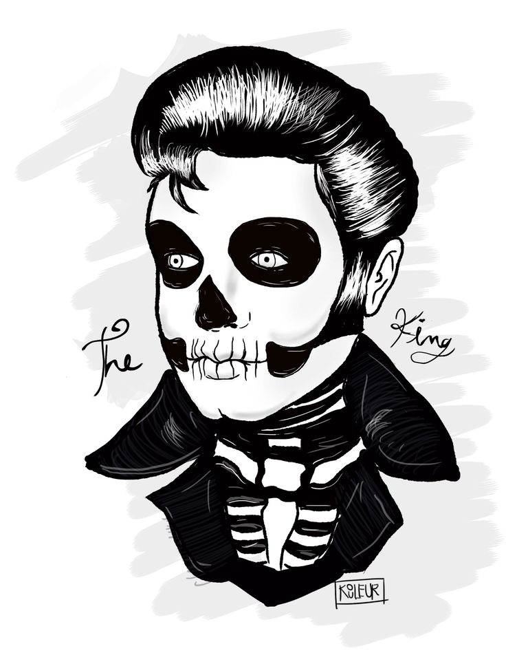 ::: THE KING :::  #Love #Elvis #Presley #TheKing #skull #zombie #rocknroll #zombielove #KOULEUR