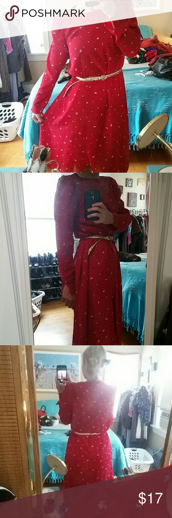 Vintage Red Flower Sheer Dress! *M/L* This is such a light weight & gorgeous sheer dress! Probably needs a slip under it but it you're risky it doesn't need one w/pretty lingerie underneath! Has adorable red buttons on wrists that clasp and 3 (1 is missing as seen in pic) on top left of neckline. Has a sort of wrap feel to it in front. No zippers or pockets or shoulder pads. Dark red w/blue and cream flowers. Tag says Alison Peters with no other tags. 21 in underarm to underarm 41in top to…