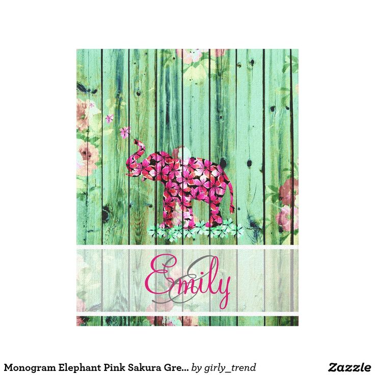 Monogram Elephant Pink Sakura Green Floral Wood Canvas Print