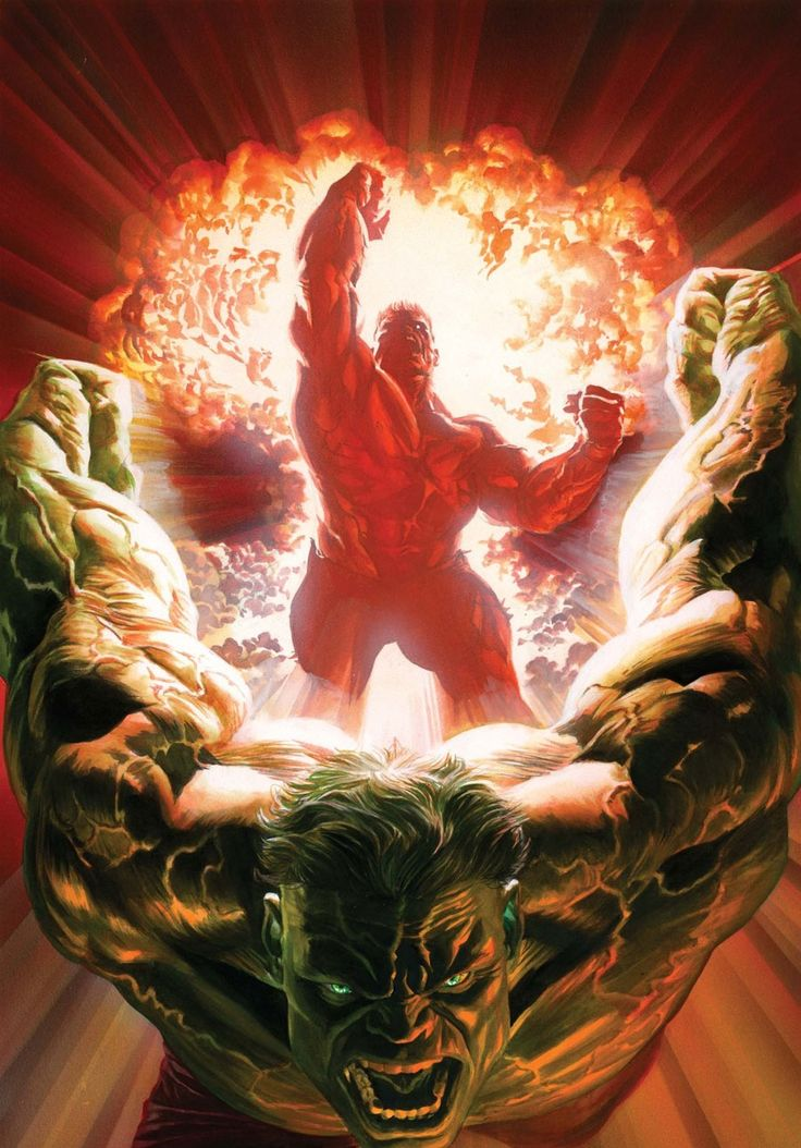 Green Hulk and Red Hulk by Alex Ross