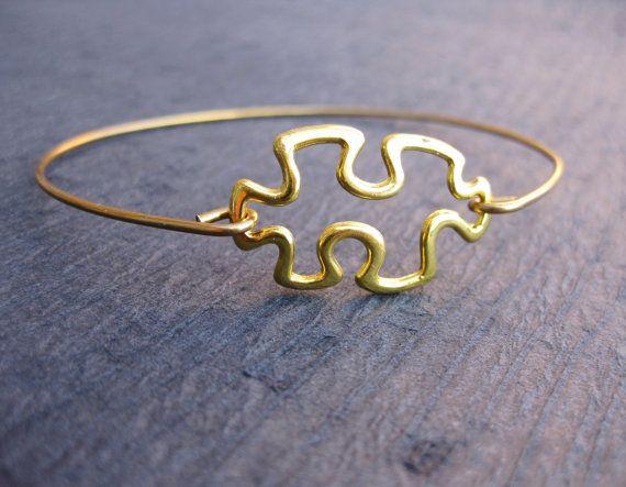 Gold Puzzle Autism Awareness Puzzle Bangle Bracelet | Autism Bangle Bracelet | Awareness bracelet | Autism Puzzle | Puzzle Jewelry | Puzzle