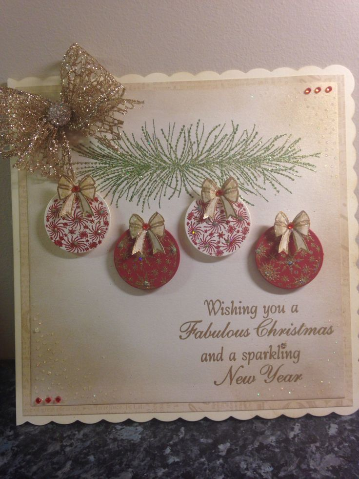 Red and gold theme christmas card using chloes creative stamps bauble stamp
