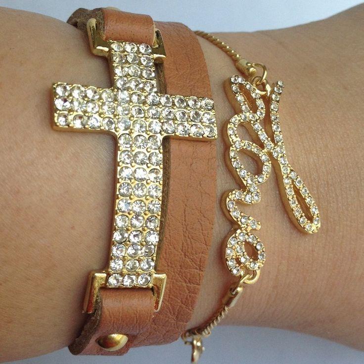 Love!Crystals Crosses, Crosses Wraps, Leather Wrap Bracelets, Fashion Style, Love Bracelets, Arm Candies, Leather Wraps Bracelets, Cross Bracelets, Crosses Bracelets