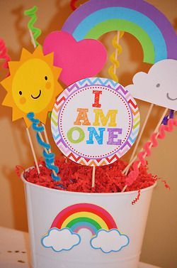 Sweet Simplicity Bakery: Rainbow Theme Birthday Party First Birthday Die Cut Shapes and Etsy Printable Centerpiece Circles displayed in a metal bucket