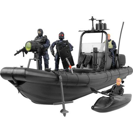 Click N' Play Military Elite Swat Unit Force Patrol Dinghy Boat 25 Piece Play Set With Accessories