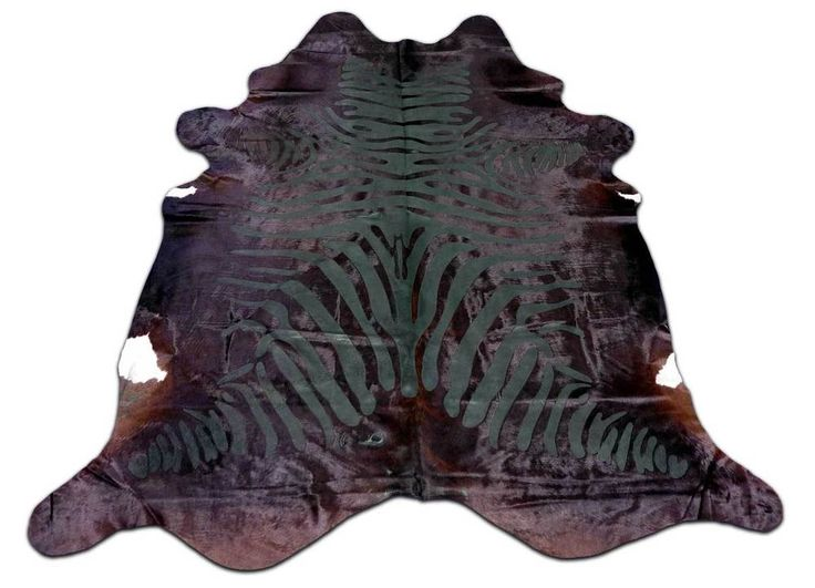 H-878 Acid Washed Zebra Printed Cowhide Rug Size: 8' X 7.25' HUGE Zebra Cowhide  #cowhidesusa #Contemporary