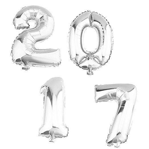 Folienballons 2017, Ballons, Luftballons, geeignet für die Befüllung mit Luft oder Helium / Ballongas, Silvester, Neujahr 40cm Zahlenballon Silber 40cm; Top Preis;
