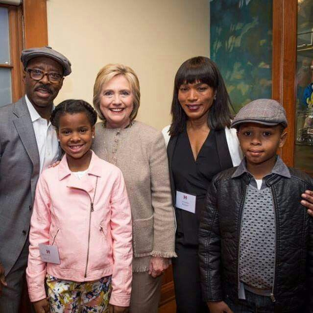 Angela Bassett, husband and kids with Hillary Clinton