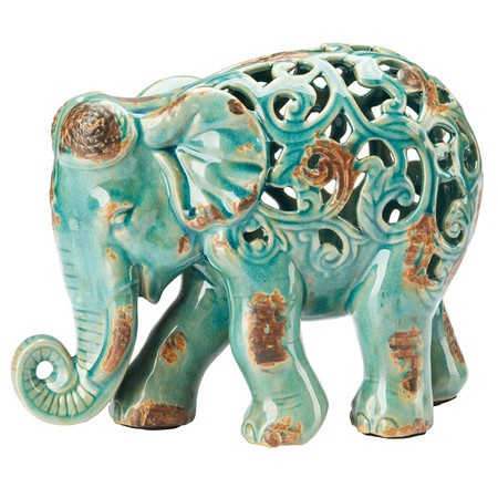 Fretwork Ceramic Elephant Statue - Teal - Trunk up stands for good luck.  Place burnished teal ceramic fretwork elephant where light can skim over  the ...