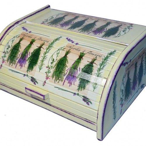 Chlebak Pęczki Lawendy - Decoupage - Dekoracje wnętrz