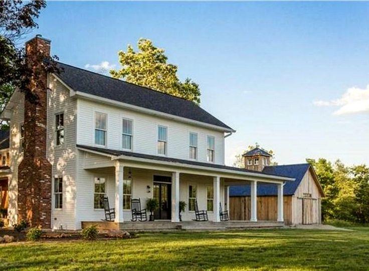 453 best white farmhouse images on pinterest cottages for Farmhouse style architecture