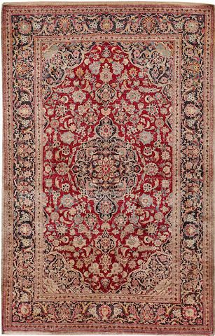 Kashan silk rug Central Persia early 20th century size approximately 4ft. 3in. x 7ft.