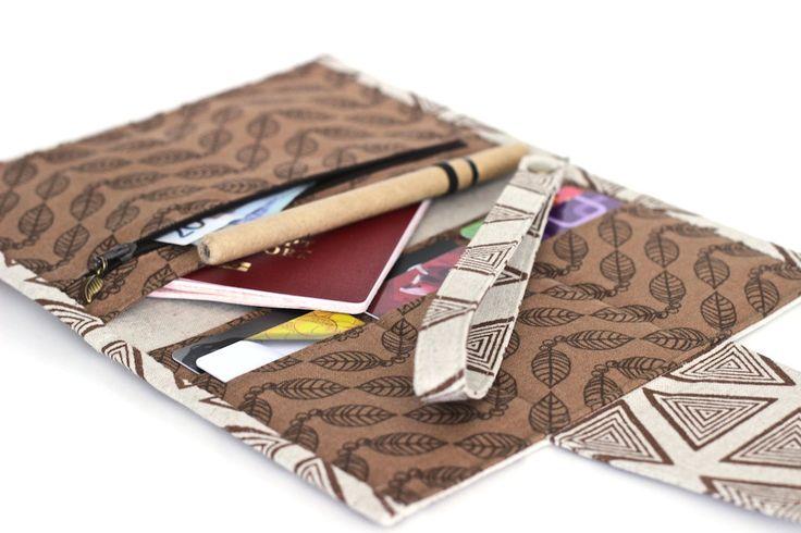 Travel wallet passport cover travel organizer document cash envelope wallet brown travel passport holder card travel blockprint + Free gift! by KodamaLife on Etsy