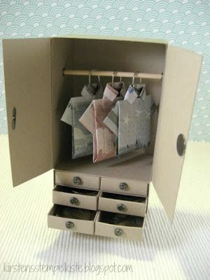 Kirsten stamp box-would be cute if the shirts were made of dollar bills and little treasures tucked in the drawers