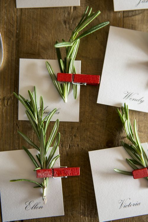 Christmas place cards using fresh Rosemary and a little festive peg.