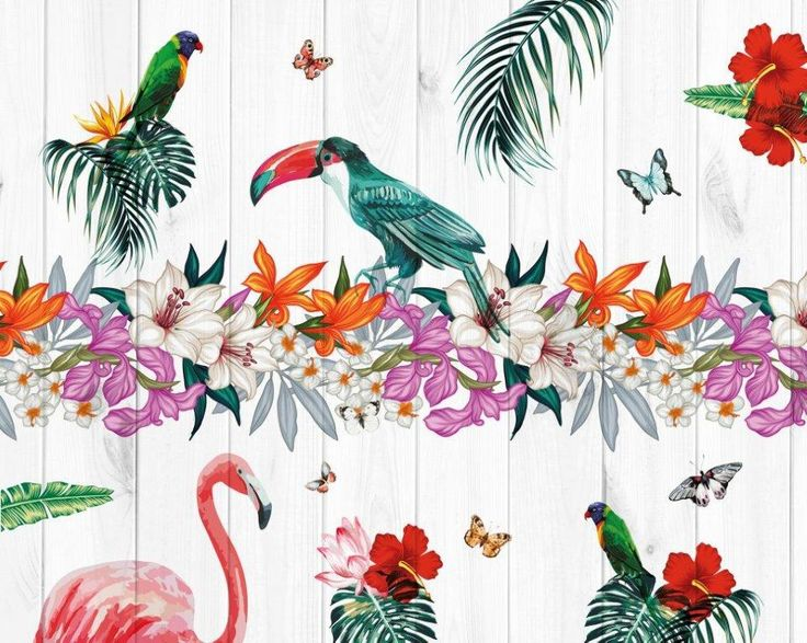 Birds of Paradise Floral Mural