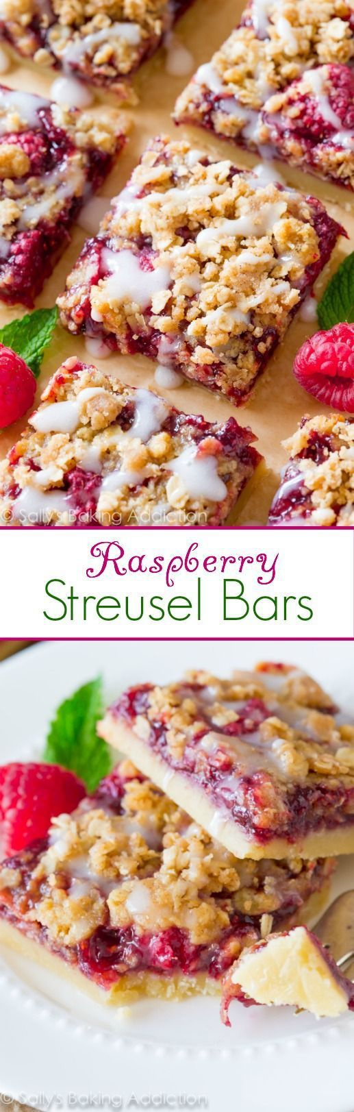 Raspberry Streusel Bars Dessert Recipe via Sally's Baking Addiction - ALWAYS loved Raspberry Streusel Bars are so simple to make and are even better with brown sugar streusel and sweet vanilla glaze on top!