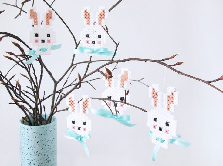 DIY - Easter ornaments. Rabbits in hamabeads by frkhansen.dk