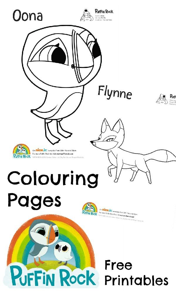 Free printable colouring pages featuring characters from Puffin Rock. Oona the puffin and Flynne the Fox