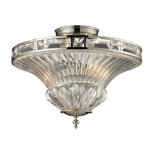 Elk Lighting Foyer: Crystal Semi-Flushmount Light With Clear Glass In Polished