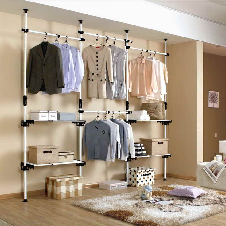 Closets & Storages, : DIY Open Closet With Pipe Wire Shelving Design Ideas