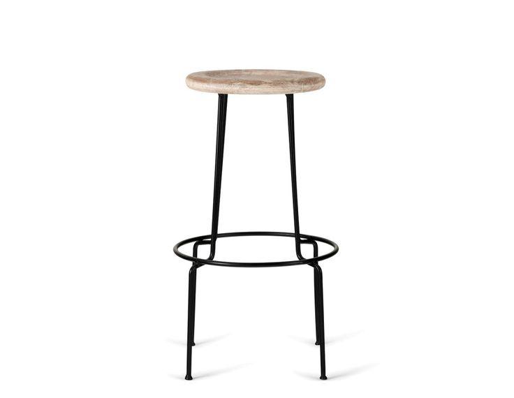 OREN - Mango wood and iron bar stool 29.5'' - Natural